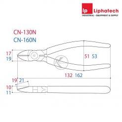 Kìm cắt chéo Tsunoda CN-130N Kích thước 130mm
