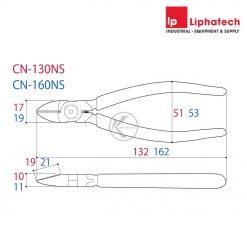 Kìm cắt chéo có lò xo Tsunoda CN-130NS Kích thước 130mm