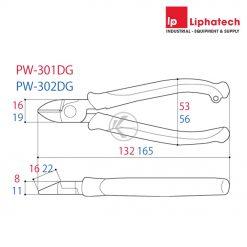 Kìm cắt dây điện Tsunoda PW-301DG Kích thước 130mm